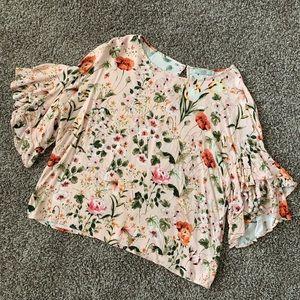 Dalia Pink Floral Ruffle Sleeve Blouse